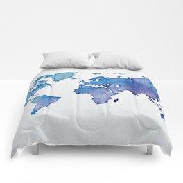 Blue World Map 02 Comforters