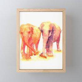 A couple of elephants Framed Mini Art Print