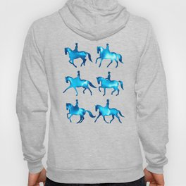 Turquoise Dressage Horse Silhouettes Hoody