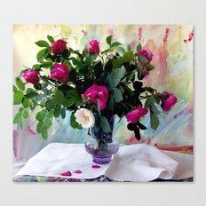 Rose Vase Still Life Canvas Print