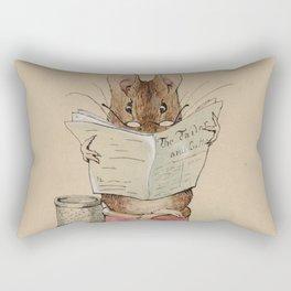 Cute little mouse reading a newspaper Rectangular Pillow
