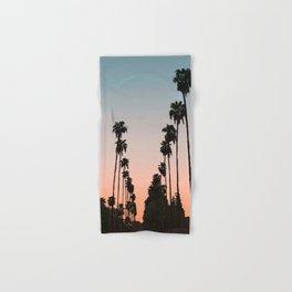 California Sunset // Palm Tree Silhouette Street View Orange and Blue Color Sky Beach Photography Hand & Bath Towel