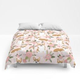 Corgi Floral Print - blush, coral, floral, spring, girls feminine corgi dog Comforters