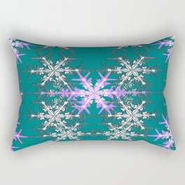 Teal and Violet Snowflakes Abstract  Rectangular Pillow