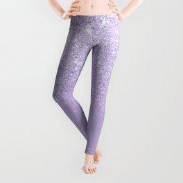 Stylish purple lavender glitter ombre color block Leggings