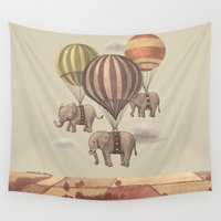 history Wall Tapestries featuring Flight of the Elephants  by Terry Fan