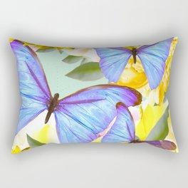 Bright Blue Butterflies Yellow Flowers #decor #society6 #buyart Rectangular Pillow