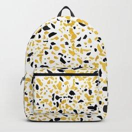 Terrazzo Memphis gold black white Backpack