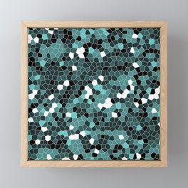 Turquoise Blue Polycamo Framed Mini Art Print