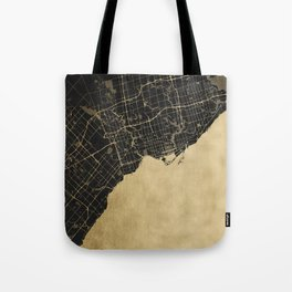 Toronto Gold and Black Street Map Tote Bag