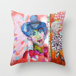 Blue Haired Lady Throw Pillow
