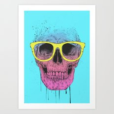 Pop art skull with glasses Art Print