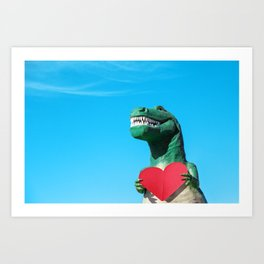 Tyrannosaurus Rex with Red Paper Heart Art Print
