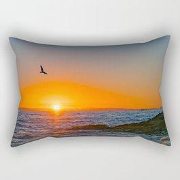 Seagull Soaring at Sunset Rectangular Pillow