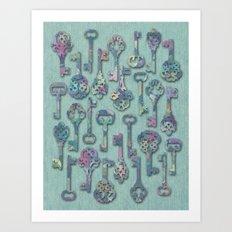 Pastel Skeleton Keys Art Print