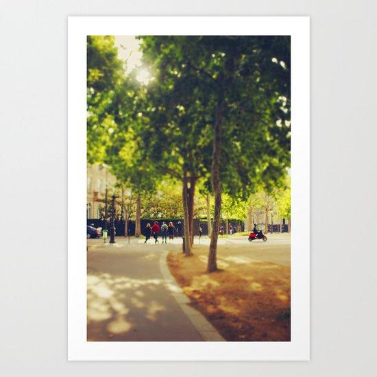 Little Red Vespa in Paris Art Print