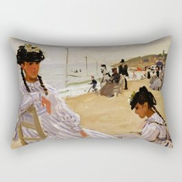 On the Beach at Trouville by Claude Monet Rectangular Pillow