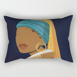Girl With a Bamboo Earring Rectangular Pillow