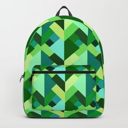 Modern Abstract Triangles, Emerald Green and Aqua Backpack