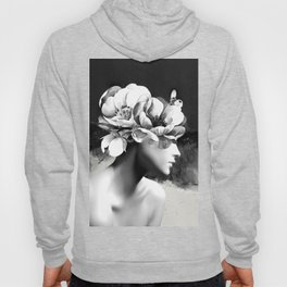 Floral Portrait-black and white Hoody