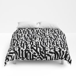 typography pattern 4 - seamless   calligraphy design - black and white Comforters