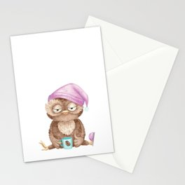 Funny Cute Distressed Retro Vintage Owl Lover Stationery Cards