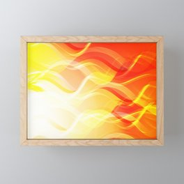 Theme of fire for the banner. Bright red and orange glare on a gentle background for a fabric or pos Framed Mini Art Print