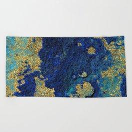 Indigo Teal and Gold Ocean Beach Towel