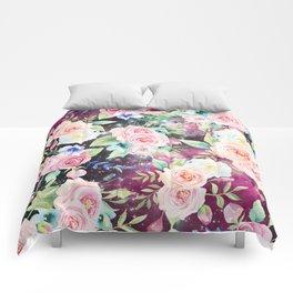Blush pink watercolor elegant roses floral nebula Comforters