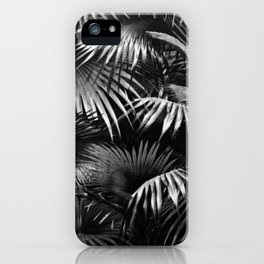 Tropical Botanic Jungle Garden Palm Leaf Black White iPhone Case