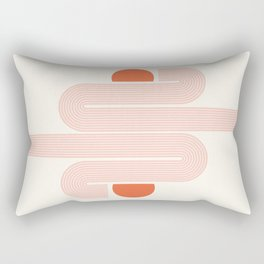Mid Century Modern Geometric 53 in Coral (Rainbow and Sunrise Abstraction) Rectangular Pillow