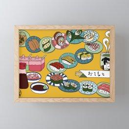 Kuru Kuru Sushi Train Framed Mini Art Print
