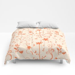 Living Coral Delicate Floral Pattern Comforters