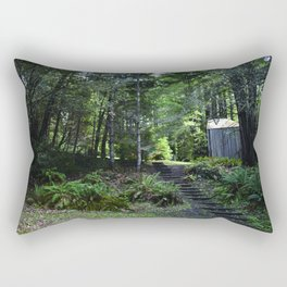 cabin in the woods with steps Rectangular Pillow