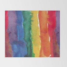 rainbow watercolor Throw Blanket