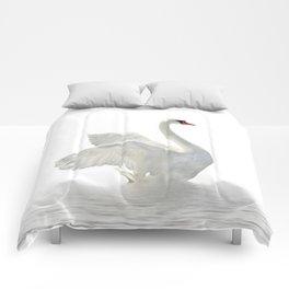 WHITE ON WHITE-BEAUTIFUL SWAN Comforters