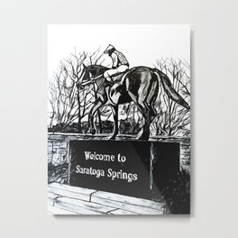 """Native Dancer"" Saratoga Springs, Thoroughbred Racehorse, Kentucky Derby, Equine Horse Artwork Metal Print"
