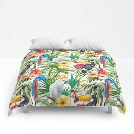 Tropical Birds Palm Trees Pattern Comforters