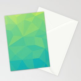Abstract Geometric Gradient Pattern between Soft Green and Strong Cyan Stationery Cards