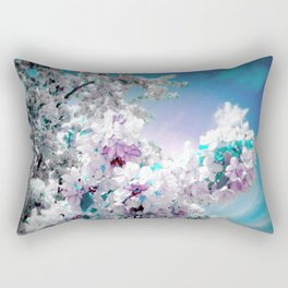 Flowers Lavender Turquoise Aqua Blue Rectangular Pillow