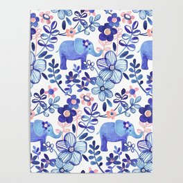 Pale Coral, White and Purple Elephant and Floral Watercolor Pattern Poster