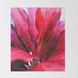 Red Ti Leaf Throw Blanket
