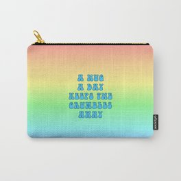 Hug a Day (Blue on Rainbow) Carry-All Pouch
