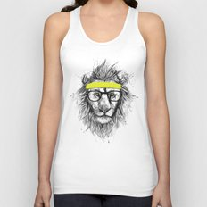 hipster lion Unisex Tank Top