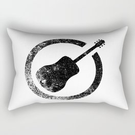 Acoustic Guitar Ink Stamp Rectangular Pillow