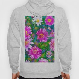 Pink Daisies Flower Party 2 by Jennifer Berdy Hoody