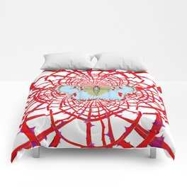 ARTISTIC RED-WHITE BUTTERFLY DREAM CATCHER WEB Comforters
