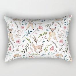 Deer and Leaves Pattern Rectangular Pillow