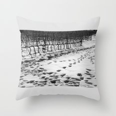 Snowy Vineyard Throw Pillow