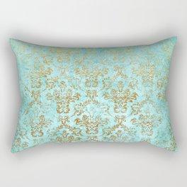 Mermaid Gold Aqua Seafoam Damask Rectangular Pillow